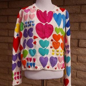 Michael Simon Hearts Valentines Cardigan Sweater